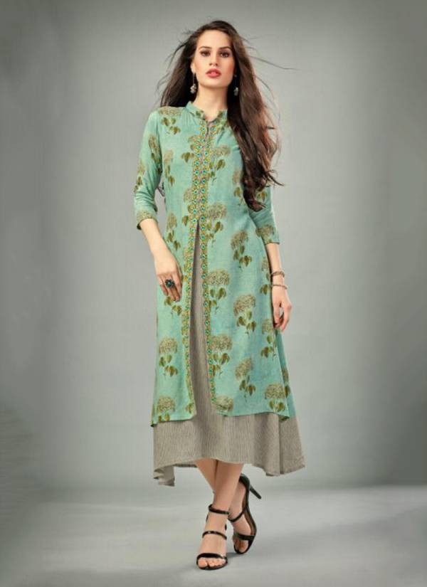 Neha Fashion Deepz Vol 4 Series 08-61 Viscose Rayon Printed With Fancy Embroidery Work Kurti Collection