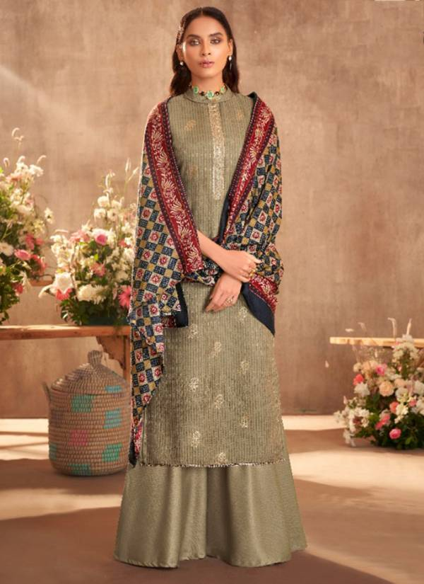 Alok Suit Simmer Series 681-001 -681-010 Pure Wool Pashmina Self Print With Foil Buta And Fancy Embroidery Work Exclusive Winter Suits Collection