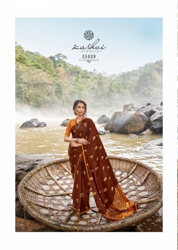 Kashvi Creation Barishka Series 35001-35010 Italian Chiffon With foil Printed Traditional Wear Sarees Collection