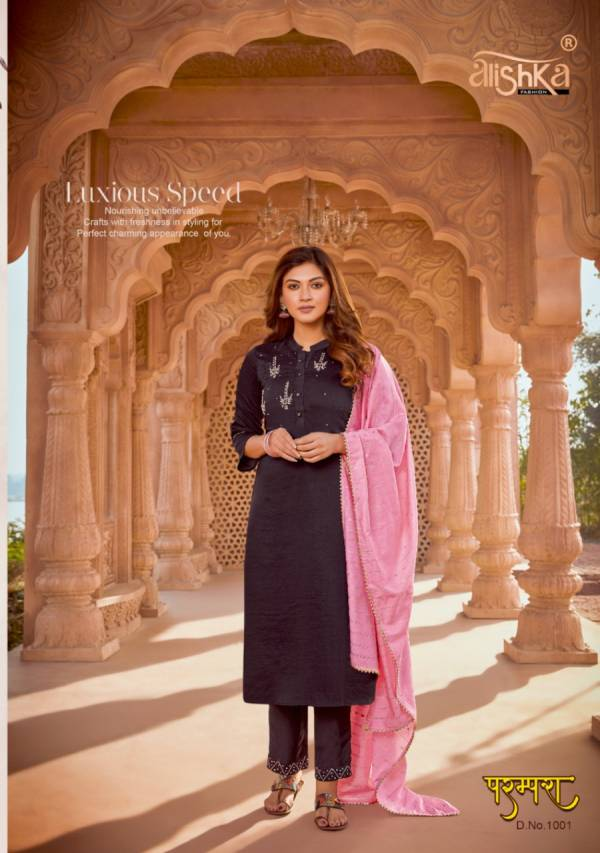 Alishka Fashion Parampara Silk With Fancy Hand Work Party Wear Readymade Suits Collection