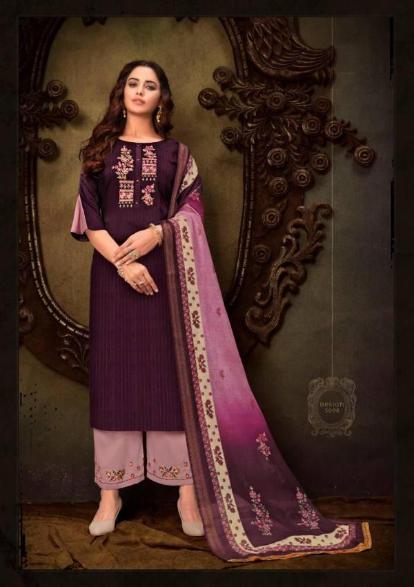 Lily & Lali Mumtaz Series 5091-5098 Stripes Pattern Bamberg Silk Designer Readymade Salwar Suits Collection
