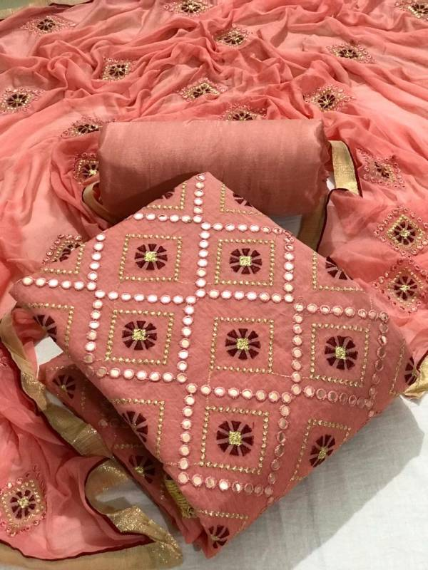 Semi Modal Multi And Mirror Work Fancy Non Catalog Dress Material Collection