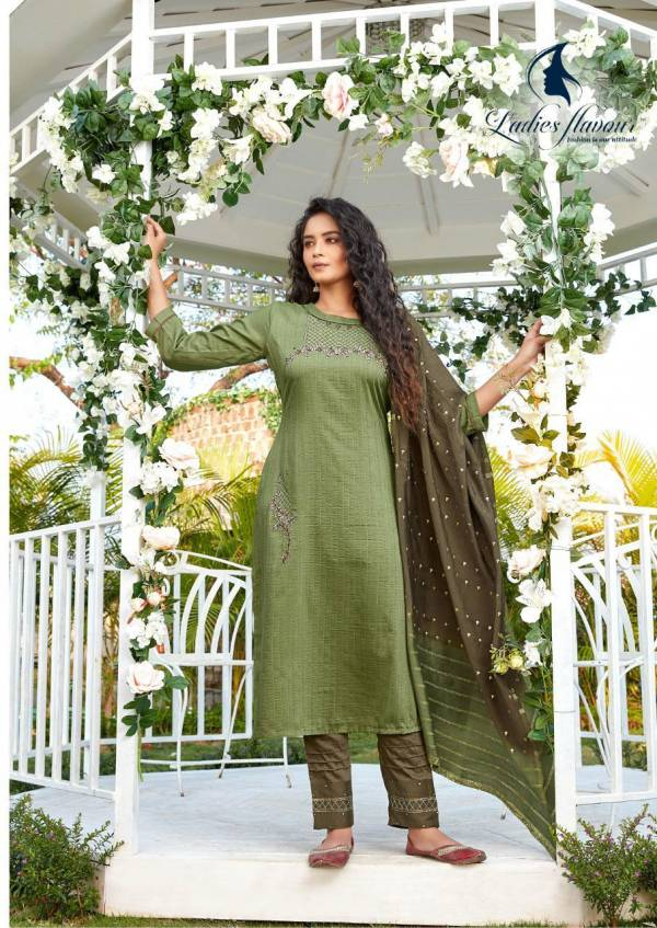 Ladies Flavour Aarohi Vol 4 Series 1001-1005 Chinon Lining With Designer Embroidery Work Festival Wear Readymade Salwar Suits Collection