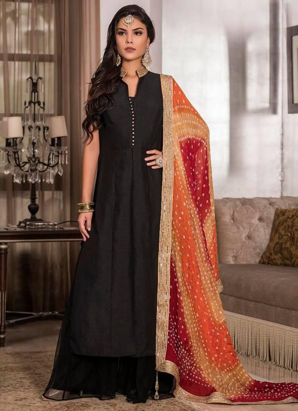 TZU Nitya Series 1001-1005 Korean Silk With Katha Work Straight Cut New Designer  Readymade Salwar Suits Collection