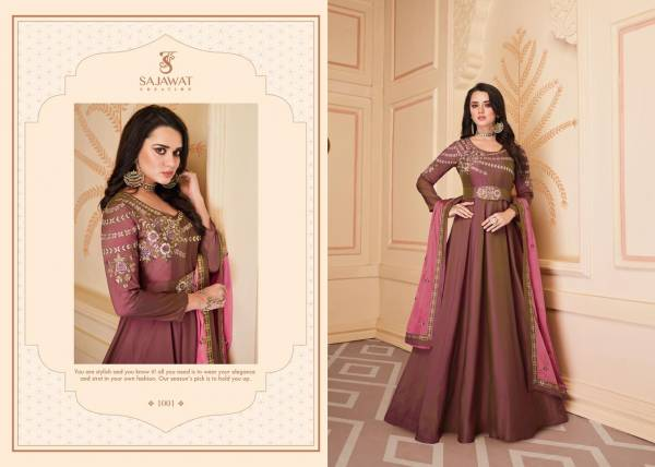 Sajawat Creation Shiphora Vol 1 Series 1001-1008 Heavy Soft Silk With Heavy Embroidery Work Designer Readymade Salwar Suits Collection (Only Top Stitch)