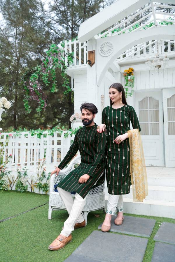 Razzo Export Rang Vol 1 Pure Cotton With Sequins Strip With Attractive Embroidery Work Wedding Wear Couples Suits Collection