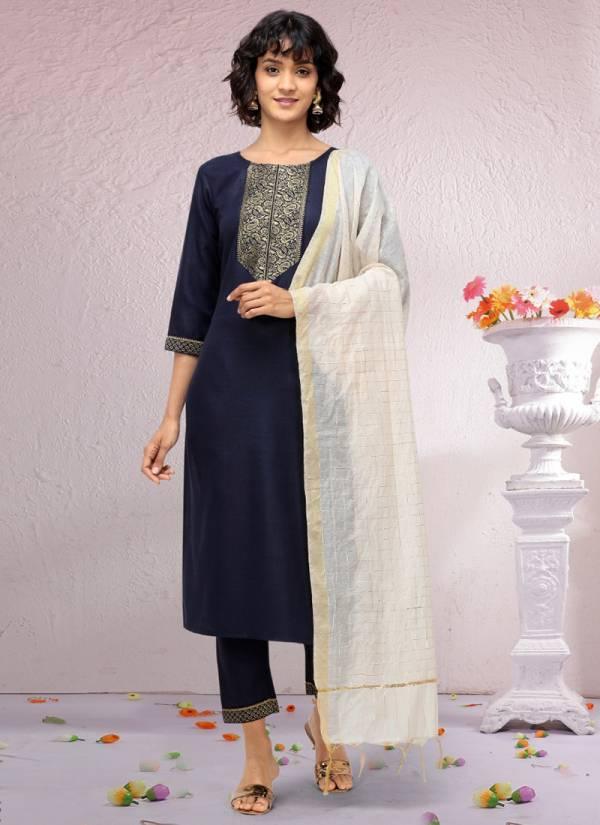 Syasii Ruhani Series 94-97 Pure Cotton Jacquard Regular Wear Straight Cut Kurtis With Dupatta Collections