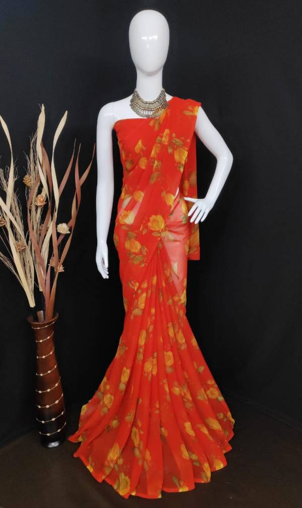Ruhi Fashion Son Series MM-1 - MM-4 Semi Georgette With Flower Printed Non Catalog Sarees Collection