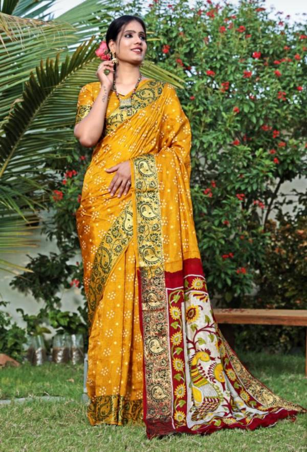 Mor Pallu Art Silk With Zari Waving Bandhej Occasional Wear Sarees Collection