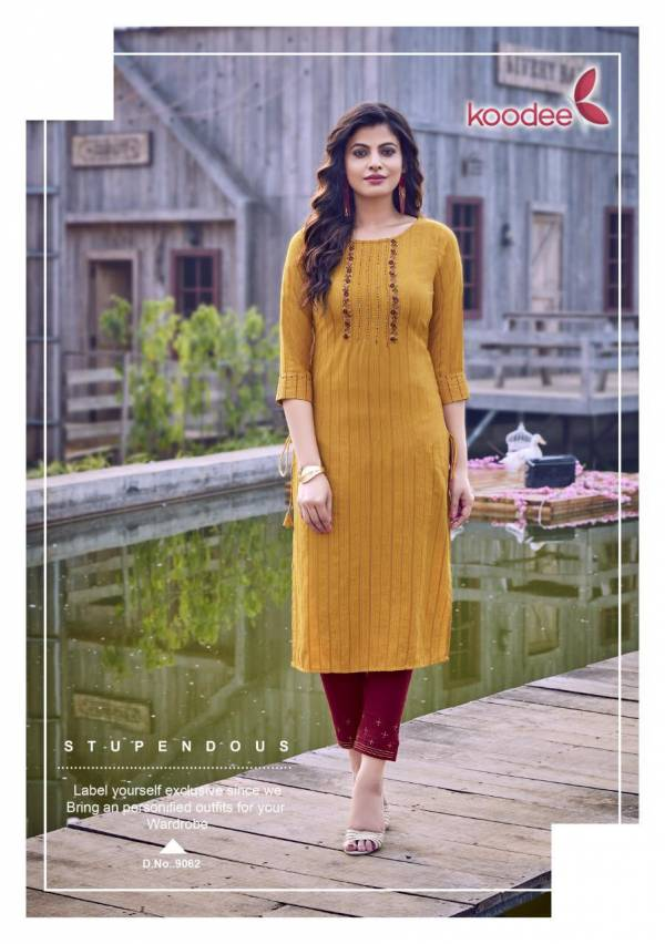 Koodee Mahi Vol 3 Series 9061-9066 Fancy Viscose With Stripe Khatli Work Trendy Look Kurti With Pant Collection