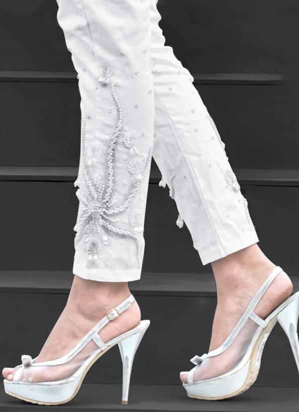 Studio Libas Inaya Series 2001INAYA-2003INAYA Pure Stretchable Cotton Stylish Hand Work Pearl Pants Collection