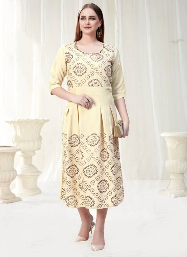 Vee Fab Bella Vol 1 Series BELLA1-101-BELLA1-108 Rayon Foil Printed Two Tone And Hand Work Trendy Look Casual Wear Kurtis Collection