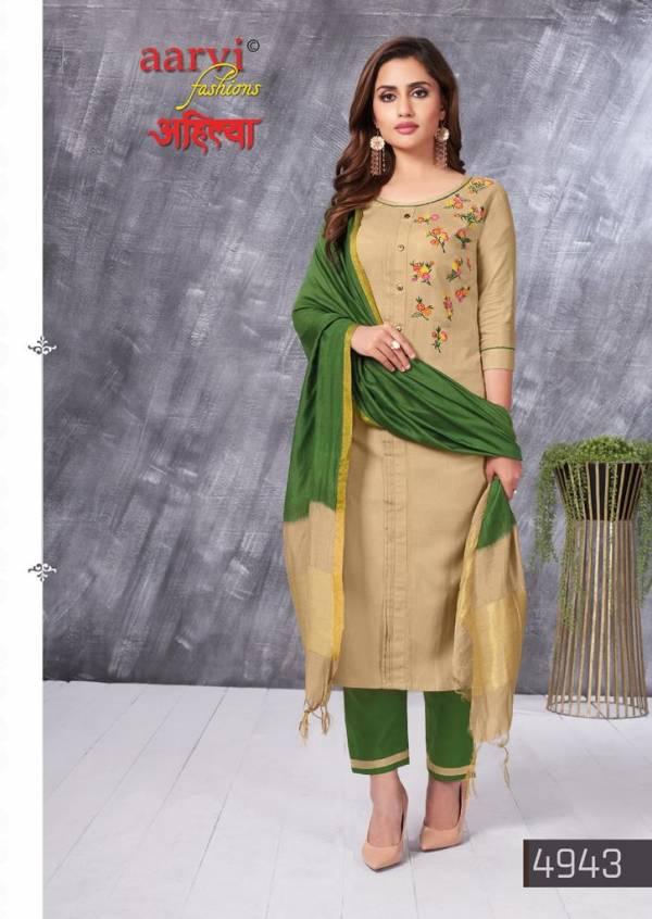 Aarvi Fashion Ahilya Vol 1 Cotton Fancy Work Wedding Wear Readymade Designer Salwar Suits Collection