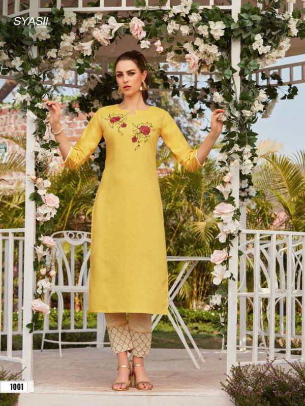 Syasii Magical Beauty Fancy Rayon With Embroidery Work Kurtis With Bottoms Collection