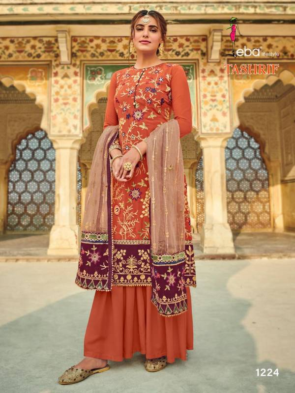 Eba Lifestyle Tashrif Series 1222-1225 Heavy Faux Georgette With Stylish Heavy Embroidery Work Festival Wear Palazzo Suits Collection