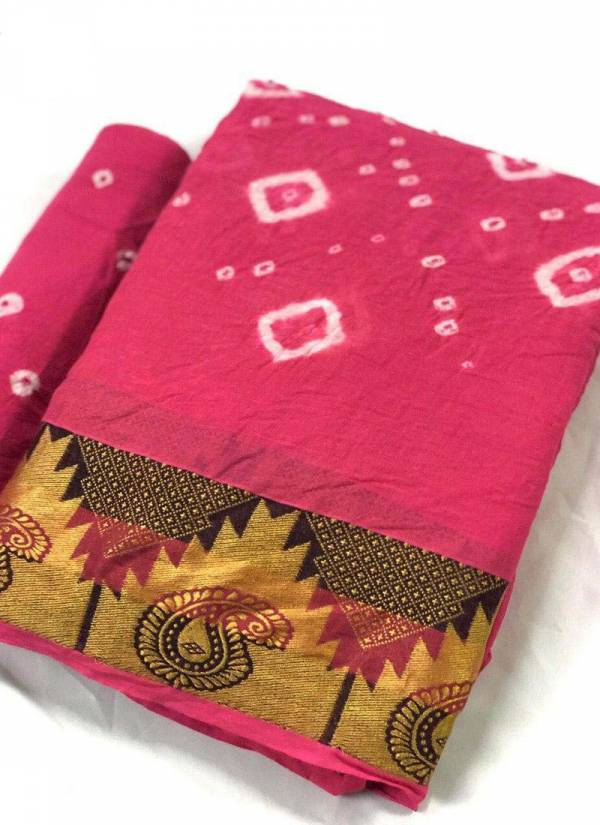 MNF Aamrus Pure Bandhani Cotton Silk With Golden Border New Design Sarees Collection