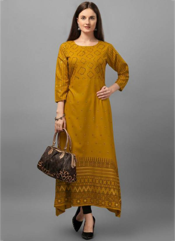 Poonam Designer Moonila Series 101-106 Rayon Malai Printed New Fancy Kurtis Collection