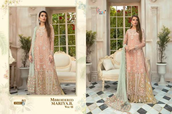 Shree Fab Mbroidered Mariya B Vol 11 Series 1260-1264 Georgette & Tissue Embroidery Work Pakistani Style Latest Designer Salwar Suits Collection