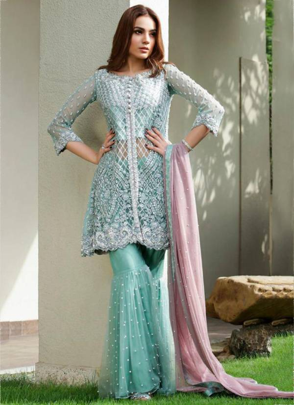 Ramsha Series R-251 - R-270 Georgette Net With Heavy Embroidery & Hand Work Designer Ramzan Eid Special Pakistani Suits Collection