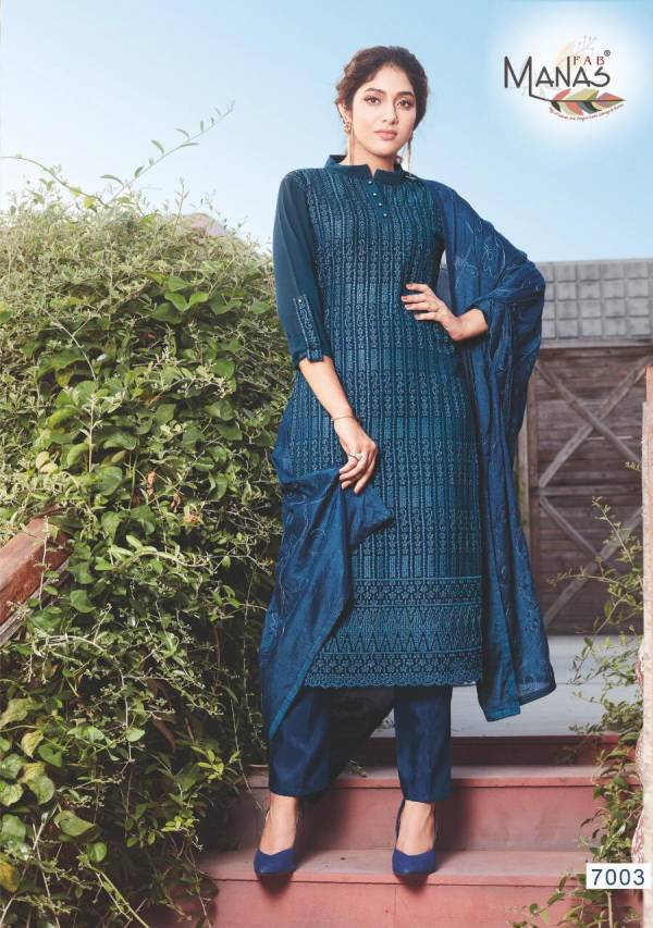 Manas Trendz Schiffli Georgette Fancy Readymade Salwar Suits Collection