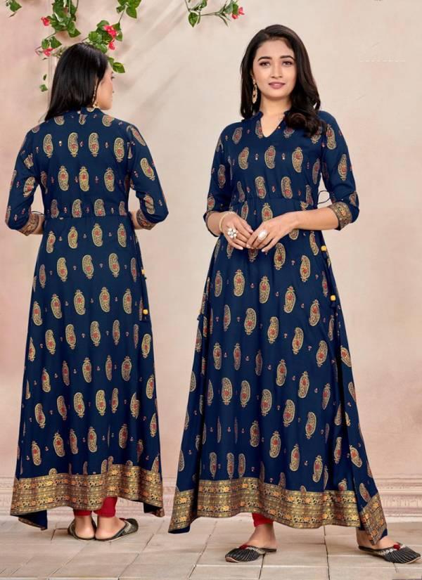 Poonam Designer Nirja Series 1001N-1004N Rayon Foil Printed New Fancy Floor Length Kurtis Collection