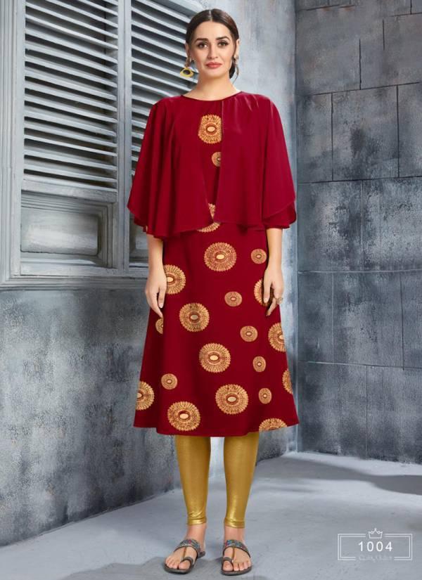 Poonam Designer Riwaz Series 1001RIWAZ-1005RIWAZ Soft Crepe With Heavy Foil Printed Fancy Jacket Style Kurtis Collection