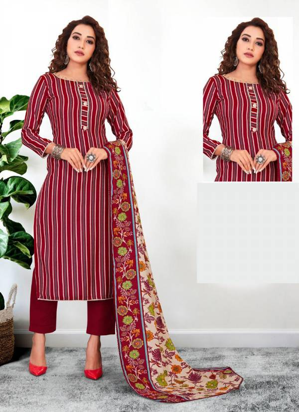 Bipson Lajoo Series 1201A-1201D Woollen Pashmina Print With Accessories Work Winter Salwar Suits Collection