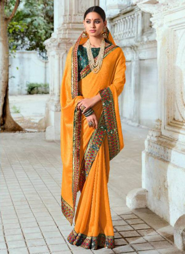 Right Women Designer Taniska Vichitra Silk With Jacquard Lace Exclusive Designer Party Wear Sarees Collection