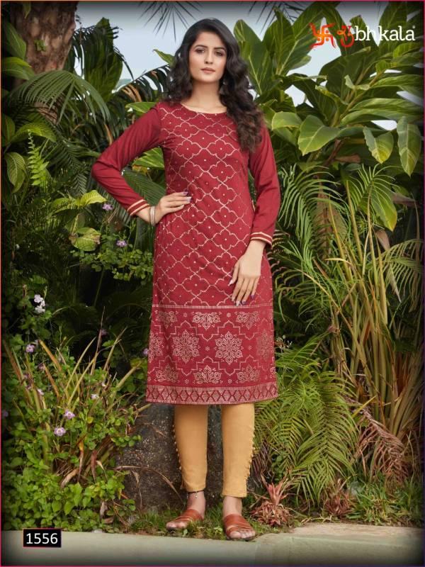 Shubhkala Naari Vol 11 Silky Cotton With Fancy Work Straight Kurtis Collection