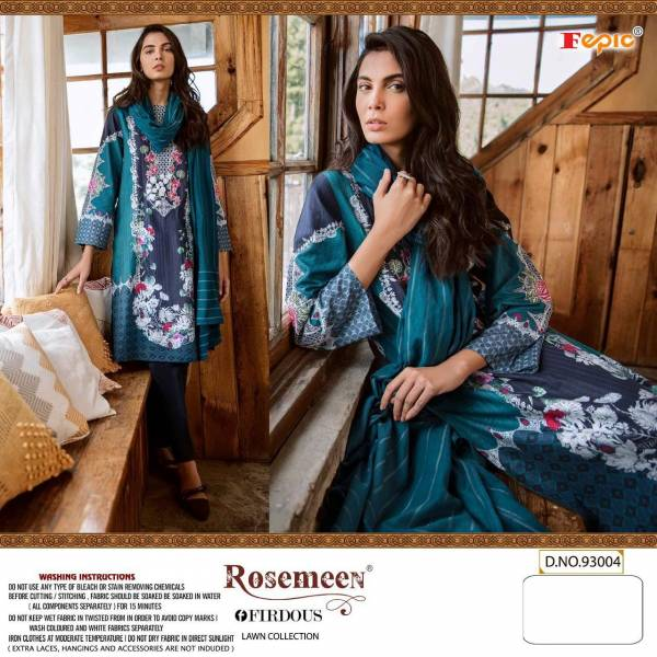 Fepic Pure Cambric Cotton Printed With Embroidery Patches Pakistani Salwar Suit Collection