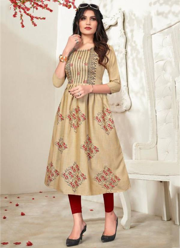 Blue Hills Trend Vol 3 Series 3001-3010 Heavy Two Tone Rayon With Foil Printed New Fancy Kurtis Collection