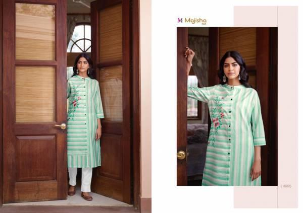 Majisa NX Jullet Cotton Stripe Designer Kurtis With Pants Collection