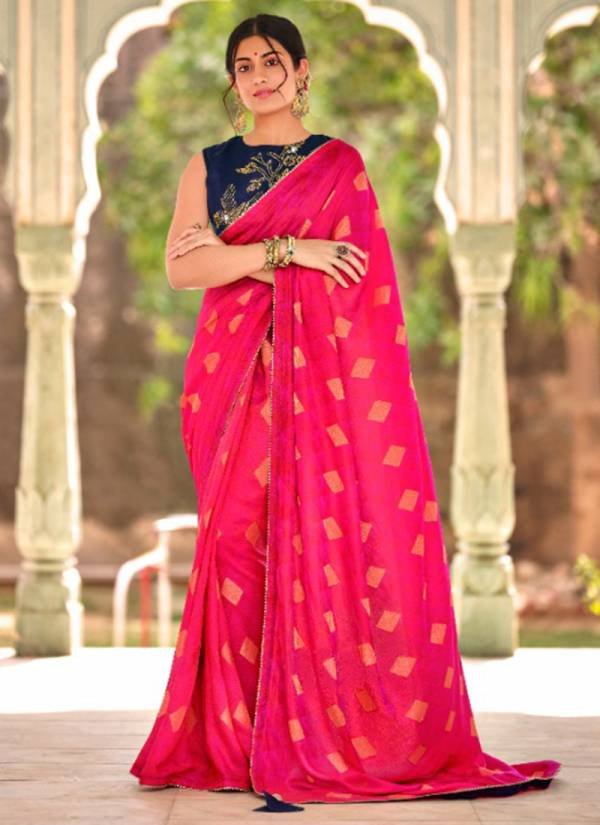 5D Designer Jequard With Fancy Embroidery Work Daily Wear Designer Sarees Collection