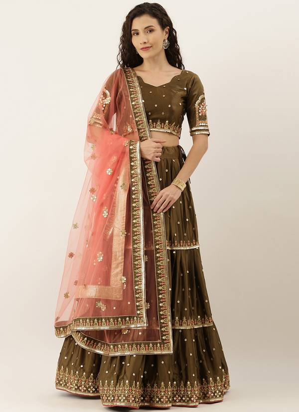 Kesari Exports Series 5256-5265 Satin Silk And Net With Embroidery Sequence With Mirror Work Trendy Look Lehenga Choli Collection