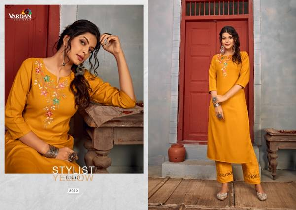 Vardan Designer Jhumka Vol 2 Heavy Rayon With  Embroidery Work Kurti With Pant Collection