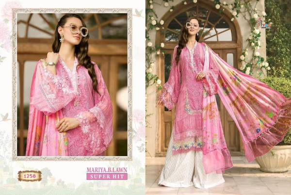 Mariya B Lawn Super Hit Series 1254-1258 Pure Cotton Printed With Heavy Embroidery Pakistani Salwar Suits Designer