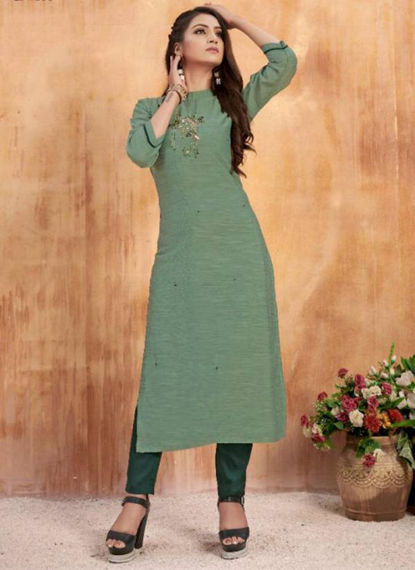Anyuka Fiza Series AN-109 - AN-114 Muslin Had Embroidery Work Fancy Designer Kurti With Bottom Collection
