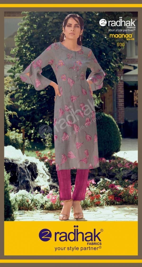 Radhak Maanaa Vol 9 Series 925-930 Fancy Fabric With Printed Kurti & Pant Collection