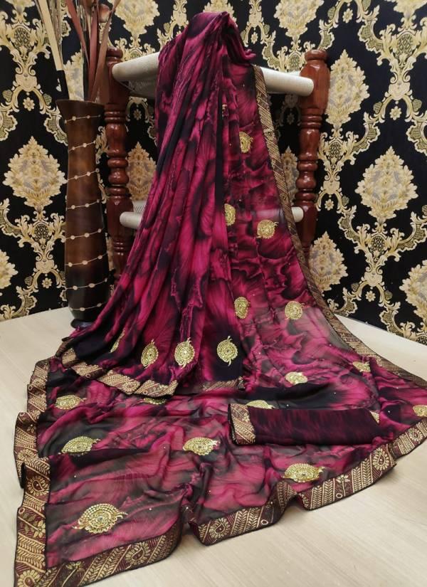 Ruhi Fashion Series HPW-1-HPW-8 Heavy Pure Weightless Beautiful Butti And Diamond Work Regular Wear Sarees Collection