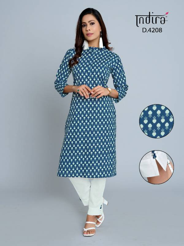 Indira Apparel's Pink City Vol 2 Series 4201-4209 Pure Cambric Cotton Jaipur Style Kurtis With Pants Collection