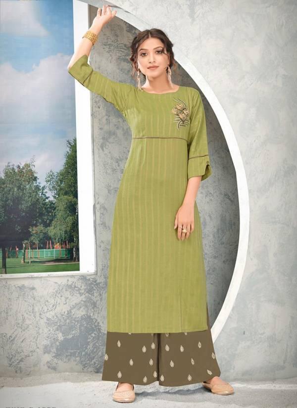 Rijiya Trendz Guzaarish Series C1001-C1005 Rayon Weaving lining New Designer Daily Wear Kurtis With Palazzo Collection