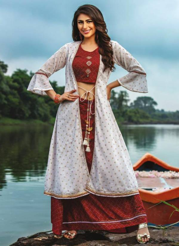 Kiana Paredise Series 001-005 Chanderi Rayon And Cotton Mal With Embroidery Work Crop Fancy Tops Bottoms And Dupatta Collection