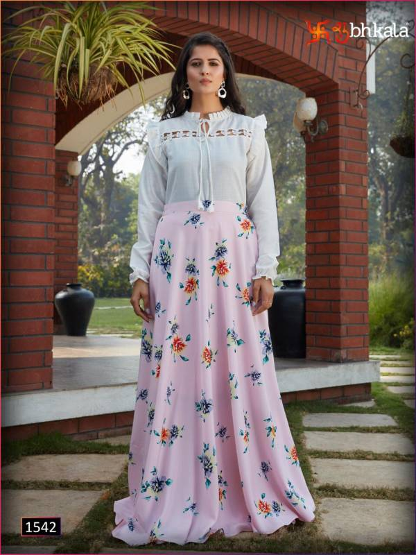 Khushbu Fashion Frill & Flare Vol 3 Series 1541-1544 Georgette Cotton Crop Top With Crepe Silk Flower Printed Trendy Look Skirt & Top Collection