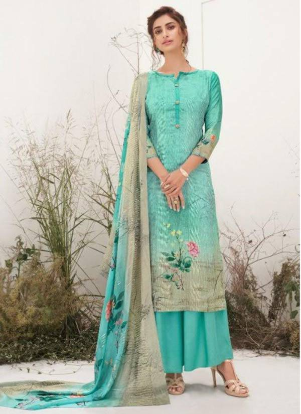 Karma Riwaaz Muslin Cotton Silk Digital Print With Embroidery Eid Special Wear Plazzo Salwar Suit Collections