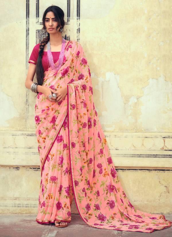 Kashvi Creation Akshara Chiffon With Fancy Digital Printed Work Festival Wear Designer Sarees Collection