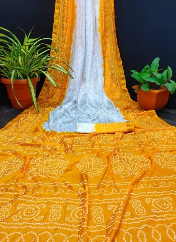 Nakshatra Fashion Studio Bandhej Saree Vol 13 Series 1-6 Art Silk With Jacquard Border Designer Bandhani Print Sarees Collection
