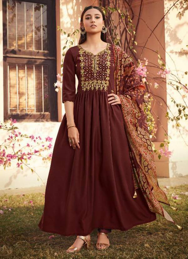 Maisha Maskeen Ji Shanaya Series 1801-1805 Pure Muslin With Embroidery Hand Work Beautiful Designer Party Wear Readymade Gowns With Dupatta Collection