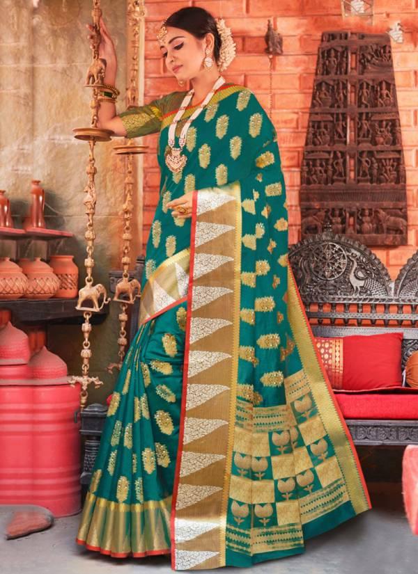 Sangam Prints Nazakat Cotton Handloom Stylish Look Sarees Collection