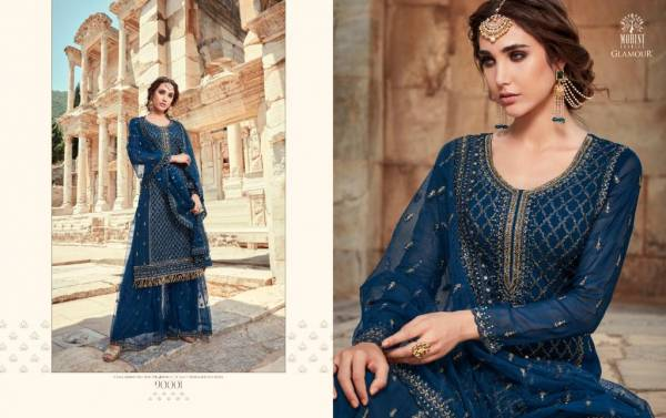 Mohini Fashion Glamour-90 Georgette Embroidery + Accessories with Santun inner Wedding Season Sharara Collection.