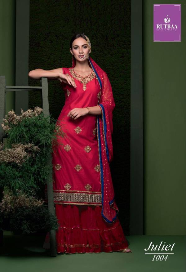 TZU Lifestyle Juliet Series 1001-1004 Chanderi Silk With Embroidery & Hand Work Readymade Sharara Suits Collection